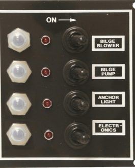 SeaSense 4 Gang LED Switch Panel-Breakers and Rubber Boots