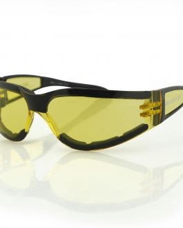 Bobster Shield II Sunglass, Black Frame, Yellow Lens